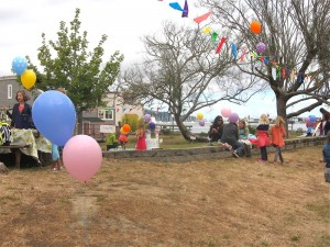 The sky was still gray when the party started.