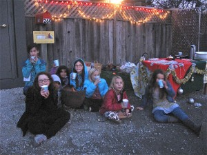 Before we cleaned up in the dark, we had one more cup of coco by the fire.