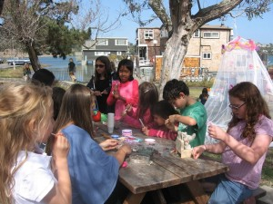 We made shell and rock charm-bracelets and painted rocks.