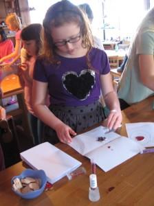 We made glitter-hearts too!