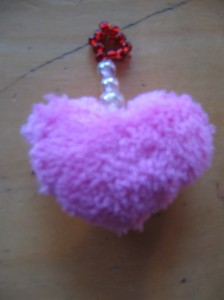 We made fluffy heart-keychains